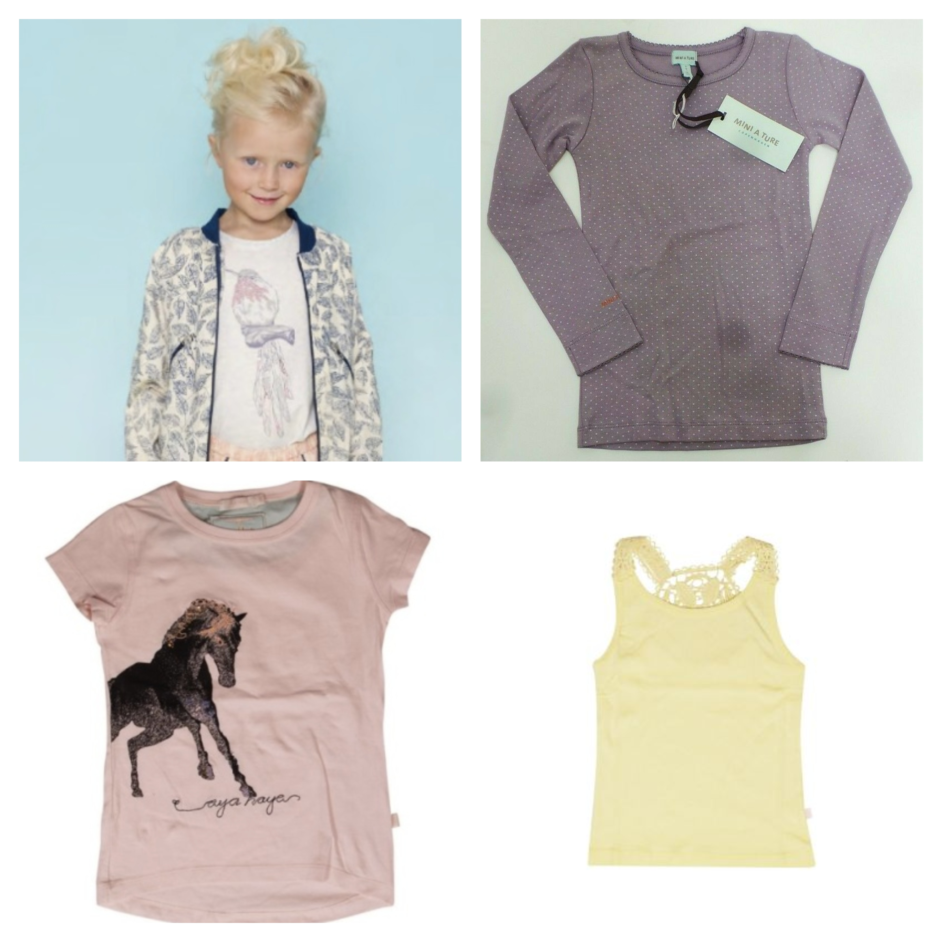 One Off Joblot Of 18 Girls T-shirts, Vests & Tops From Designers Aya Naya & Mini A Ture