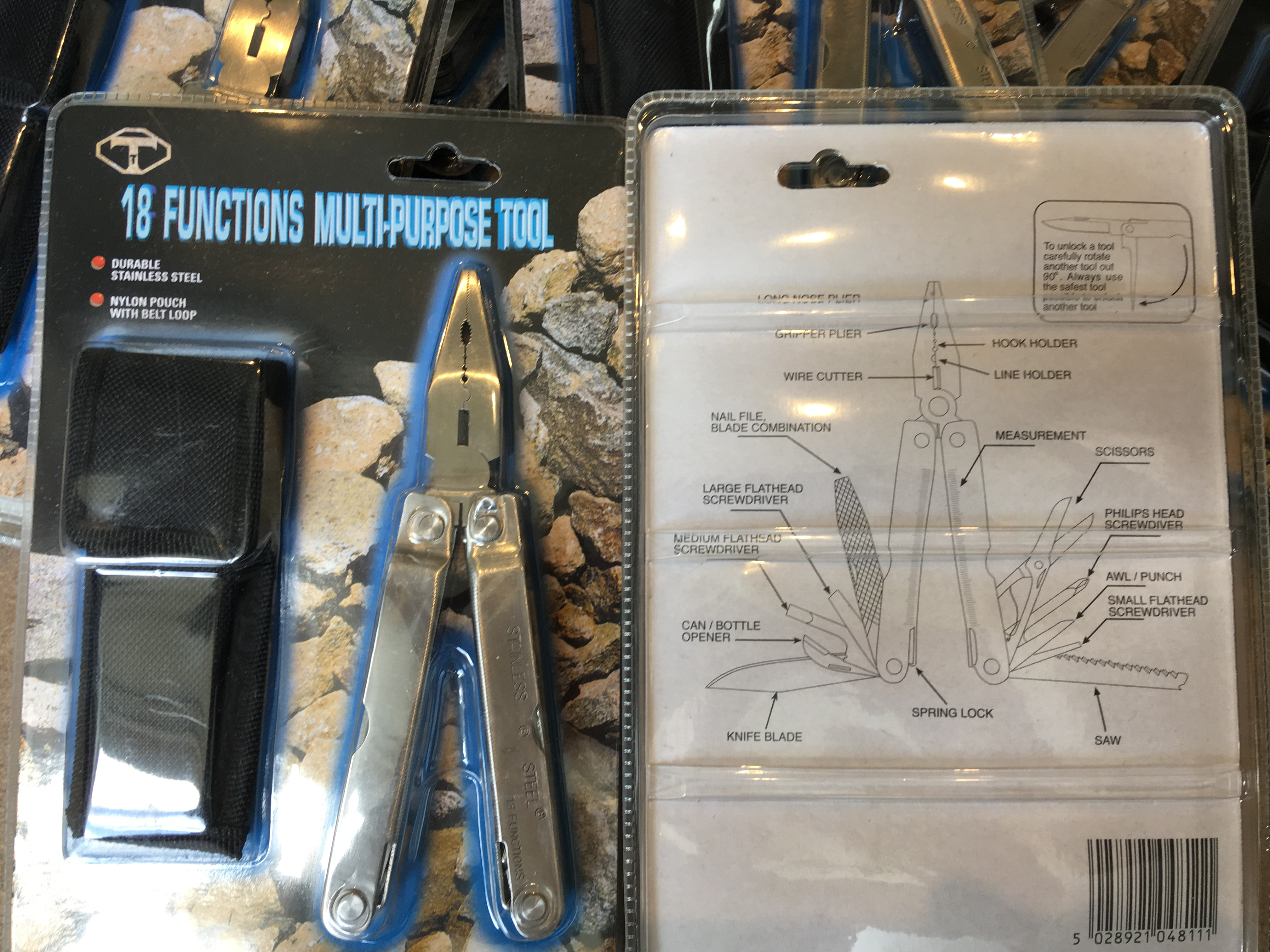 JOBLOT OF 48 x 18 FUNCTION MULTITOOL STAINLESS STEEL WITH NYLON POUCH