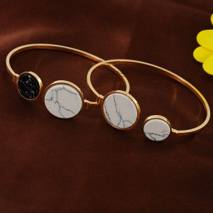 One Off Joblot of 6 Ladies Twin Marble Disc Bangles In Gold