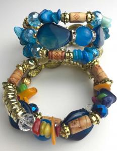 Wholesale Joblot of 10 Ladies Bohemian Coil Bead Bracelets Three Variations