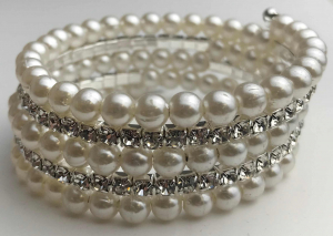 One Off Joblot of 11 Ladies Pearlescent And Diamante Coil Bracelets