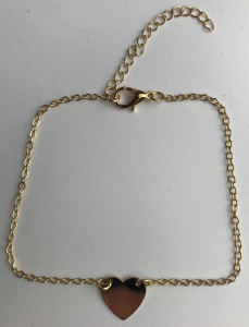Wholesale Joblot of 10 Ladies Dainty Gold Anklets With Heart Pendants