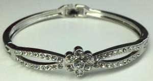 One Off Joblot of 11 Ladies Silver Crystal Flower Bracelets