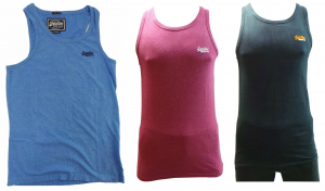 One Off Joblot of 12 Mens Branded Vest Tops in 6 Colours Sizes S-L