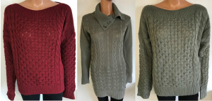 One Off Joblot of 10 Amy Gee Ladies Heavy Knit Cable Jumpers 3 Colours