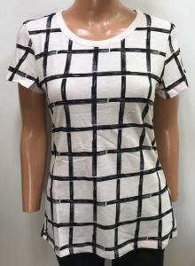 One Off Joblot of 7 Ladies De-Branded White/Black Square Pattern T-Shirt S-M