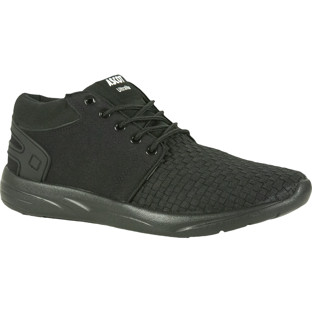 Ascot Mens Style Fred Mid Cut Black Lightweight Trainer