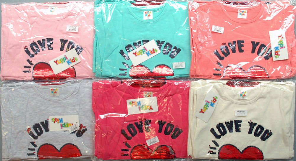 NEW Job Lots of 24x High Quality Sequined Girls T-Shirts, 6 colours