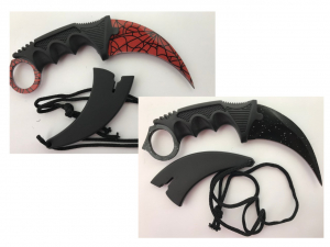 Wholesale Joblot Of 50 Curved Knives In Sheaths Speckled & Web Designs