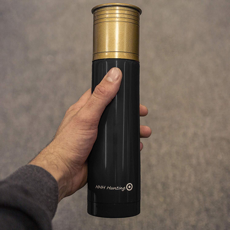 Black 500ml Shotgun cartridge vacuum Flask hot cold x 24 vf120