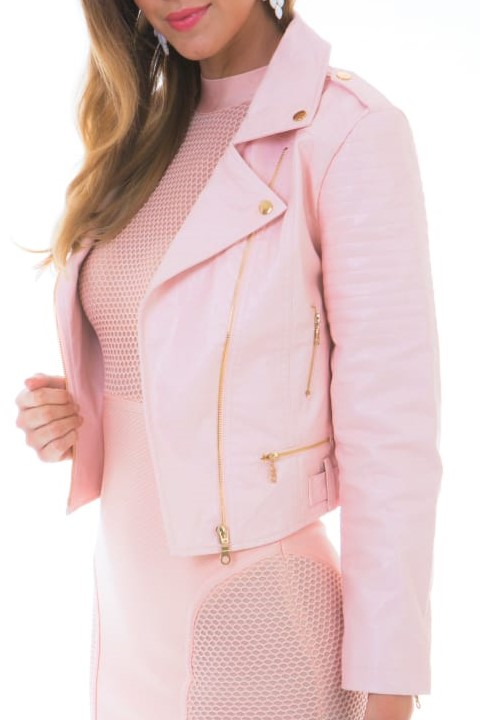 15 Fashionable High Quality Faux Leather Blush Pink Women's Biker Jackets with Gold Zips and Buttons.