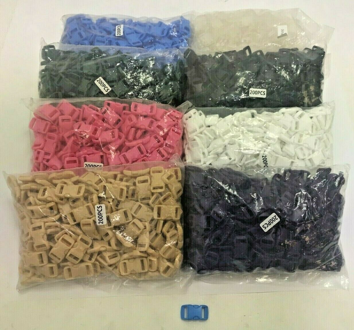 Wholesale Joblot Of 2000 15x30mm Contoured Quick Side Release Buckles Mixed