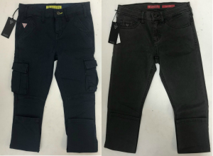 One Off Joblot of 6 Guess Boys Cargo Trousers & Jeans 2 Styles Sizes 6-10