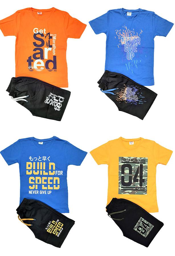 Job Lots of 64x High Quality Boys T-Shirt/Short 2 Pcs Set / 4 Designs / 4 Colours