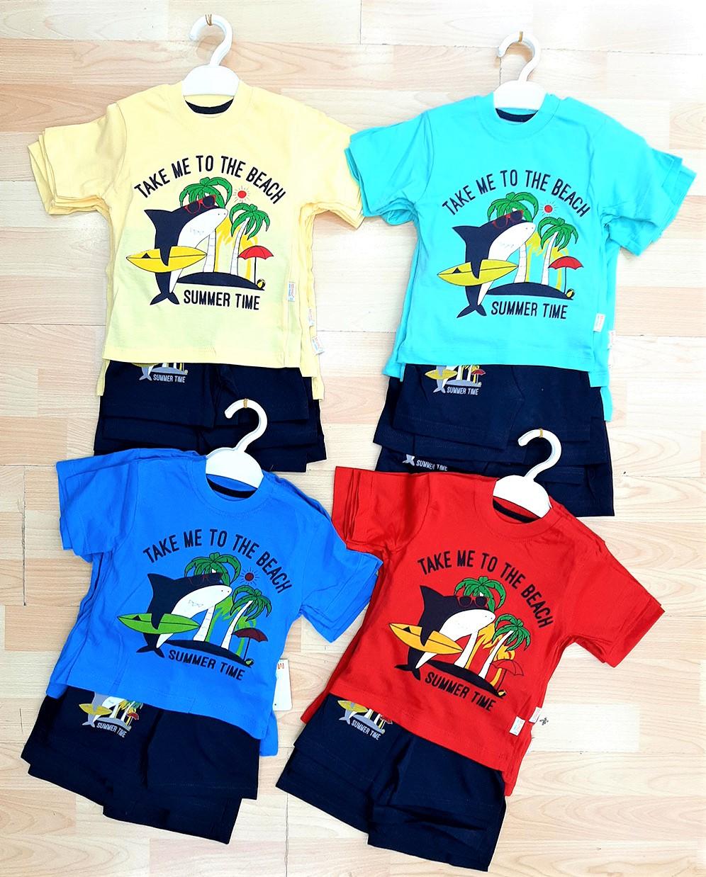 Job Lots of 32x High Quality Boys T-Shirt/Short 2 Pcs Set / 2 Designs / 4 Colours