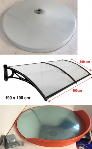 Pallet of 19 Outdoor Stock - Door Canopy Awning Kits, Convex Mirror, Bases