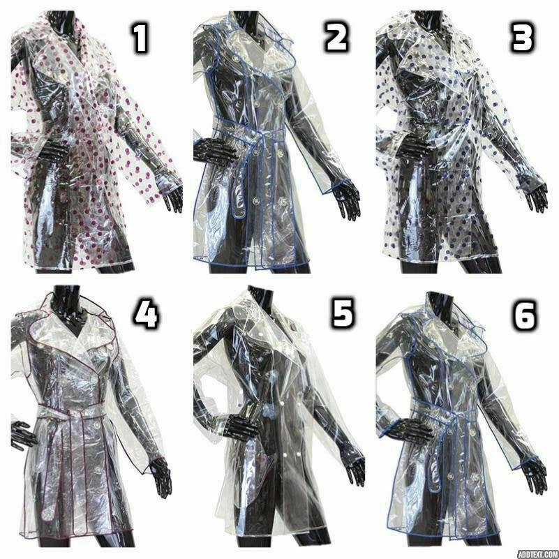 50pcs X Ladies Girls Clear Showerproof Festival Raincoat Mac See Through Jacket Funky
