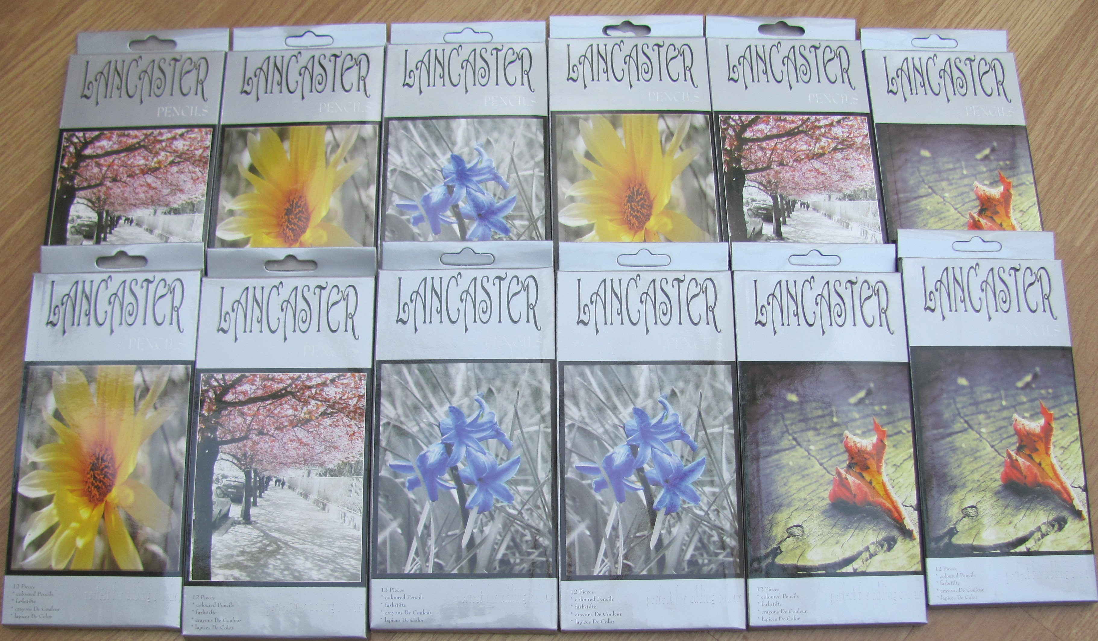 1728  Lancaster coloured pencils in packets of 12