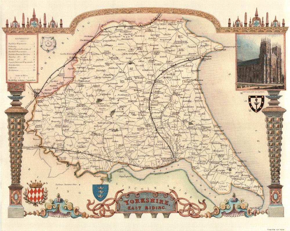 80 East Yorkshire Ridings 19th Century Reproduction Thomas Moule Decorative Antique Maps