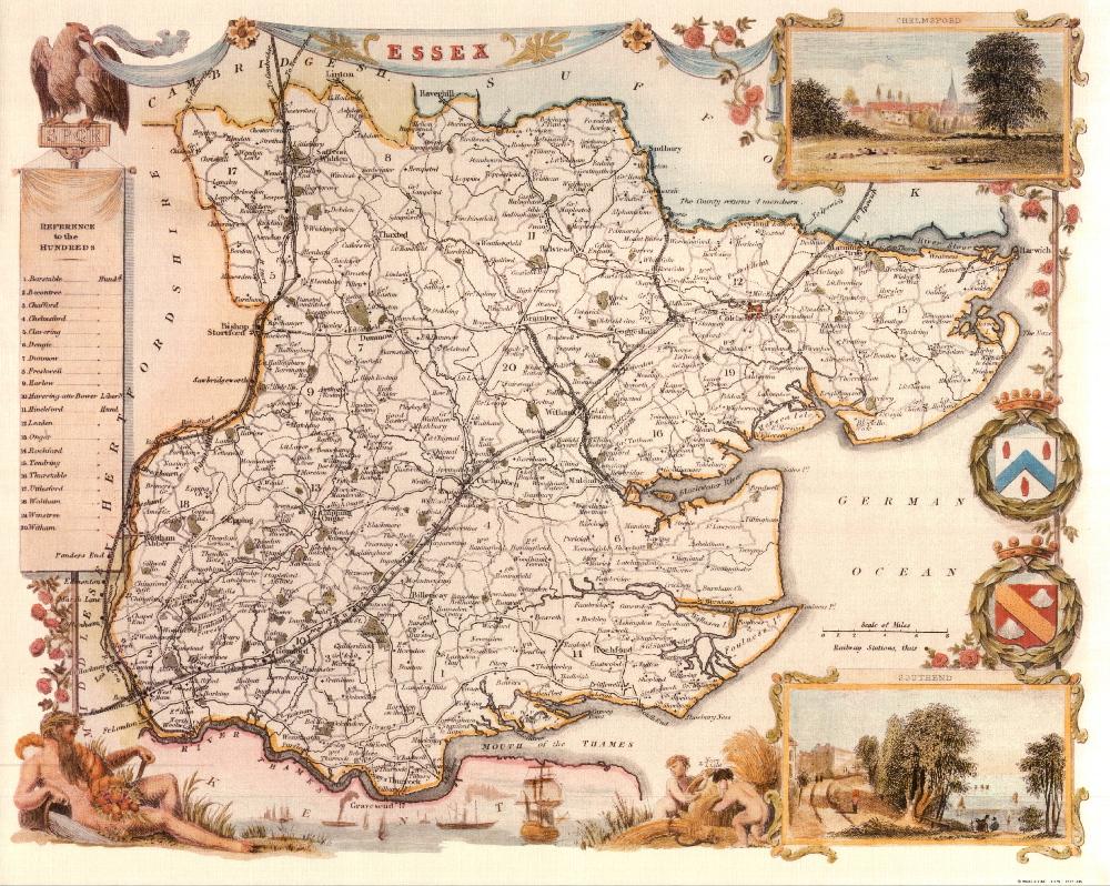 75 Essex 19th Century Reproduction Thomas Moule Decorative Antique Maps