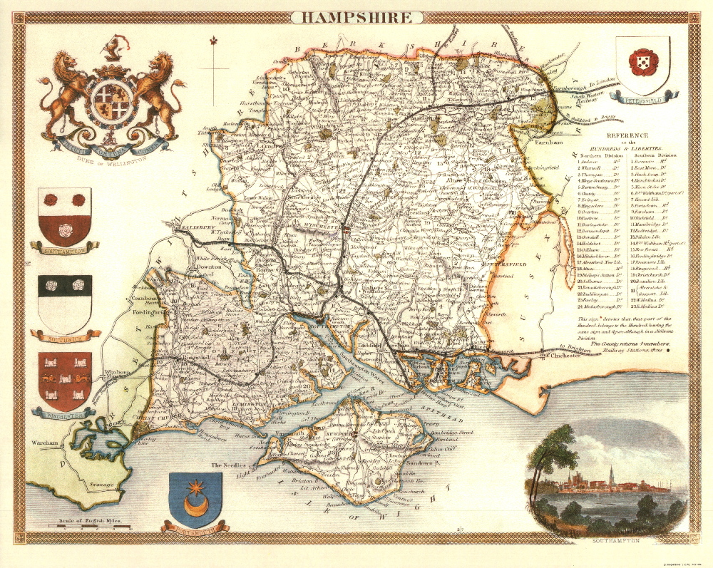 100 Hampshire 19th Century Reproduction Thomas Moule Decorative Antique Maps