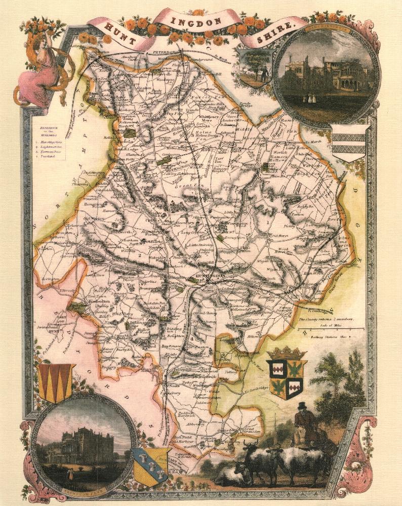 150 Huntingdonshire 19th Century Reproduction Thomas Moule Decorative Antique Maps