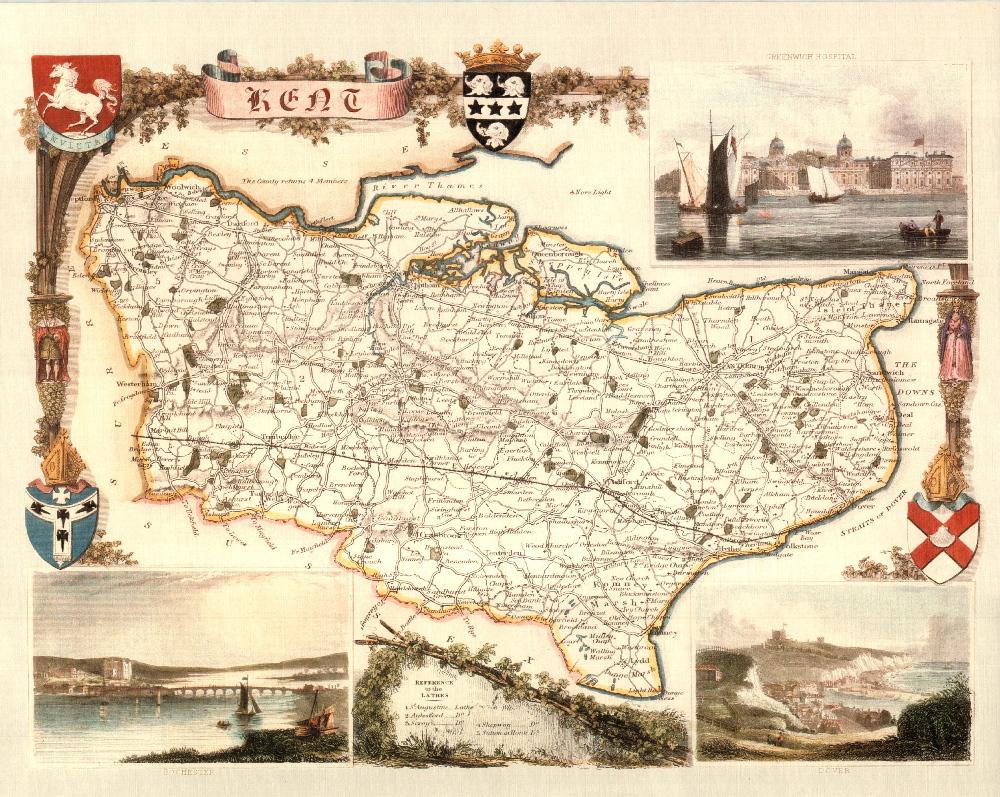150 Cornwall 19th Century Reproduction Thomas Moule Decorative Antique Maps
