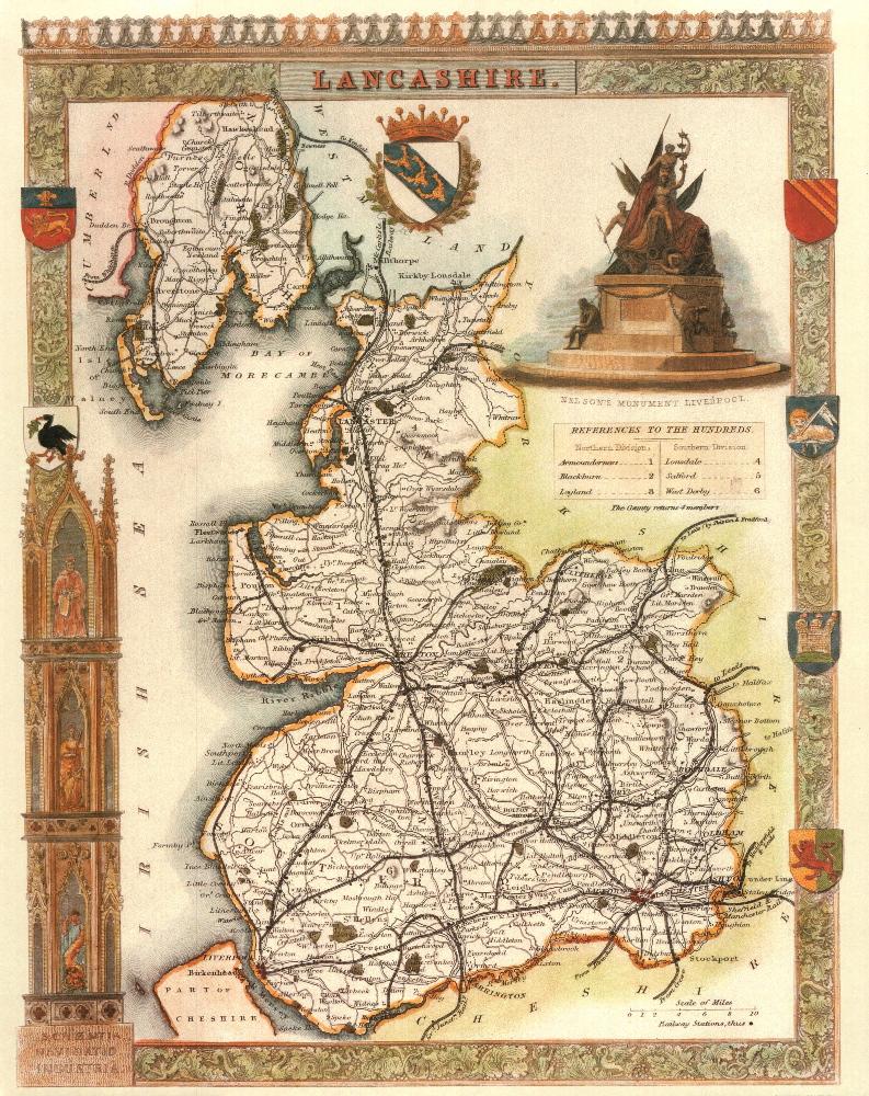 95 Lancashire 19th Century Reproduction Thomas Moule Decorative Antique Maps