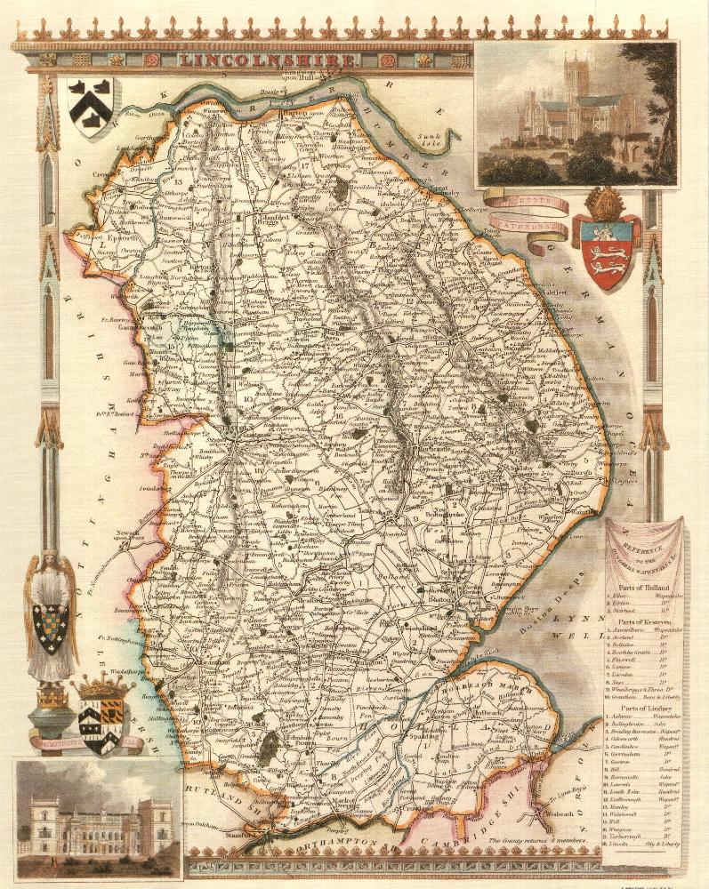 100 Lincolnshire 19th Century Reproduction Thomas Moule Decorative Antique Maps