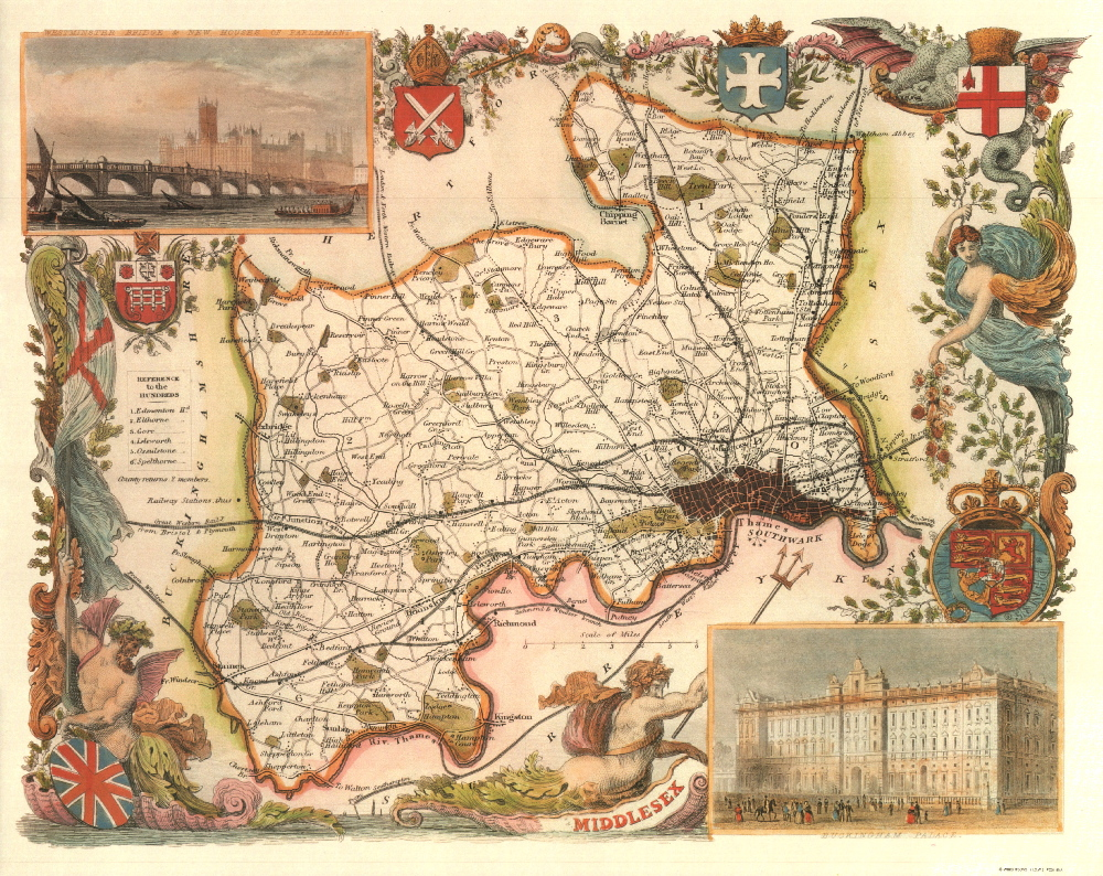 130 Middlesex 19th Century Reproduction Thomas Moule Decorative Antique Maps