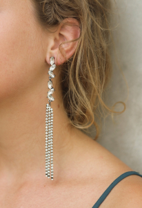 Wholesale Joblot of 20 DesignB London Crystal Tassel Statement Earrings Silver