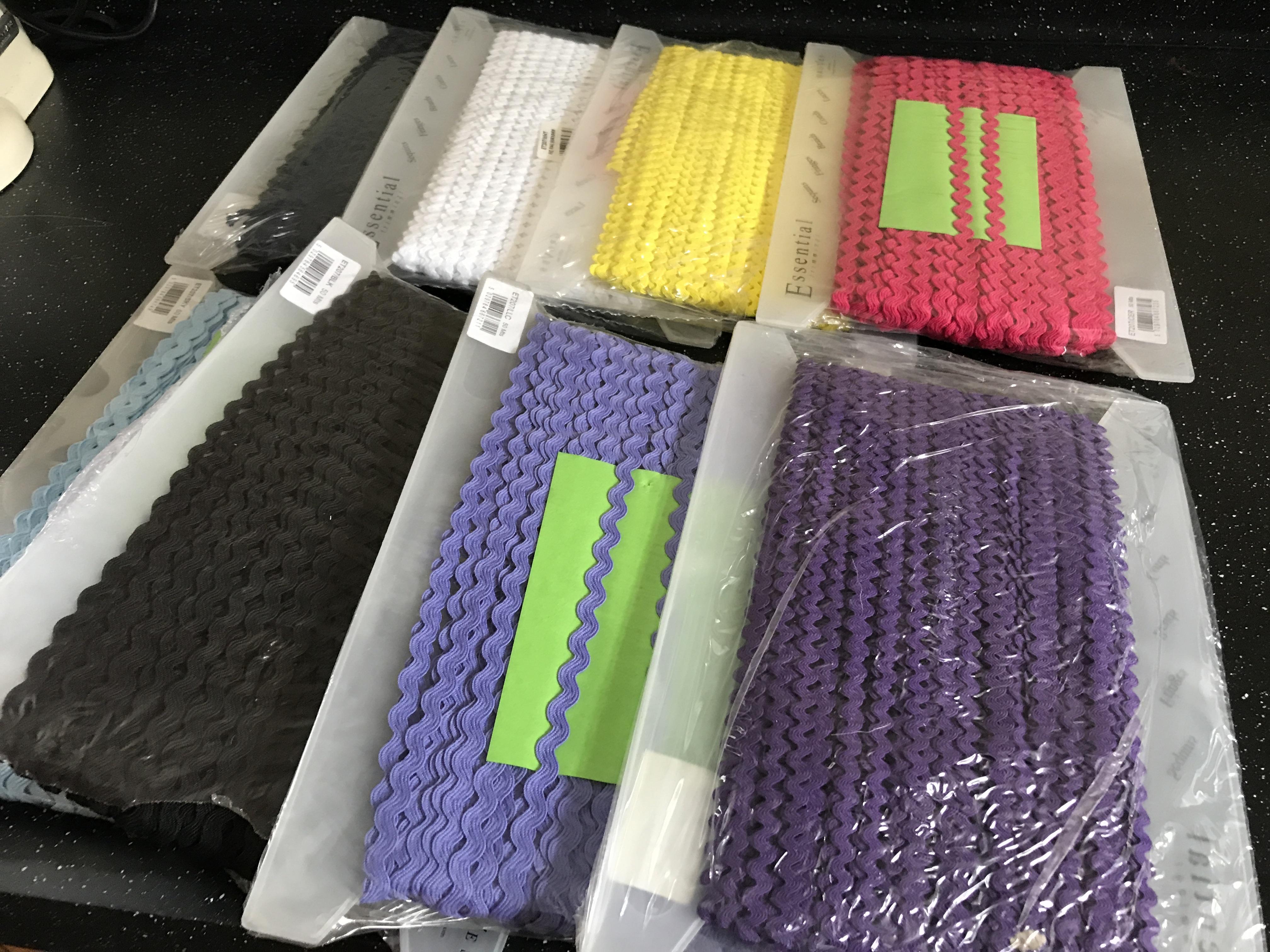 8 sealed packs of Ric Rac Ribbon 8mm width, 50 metres per pack.