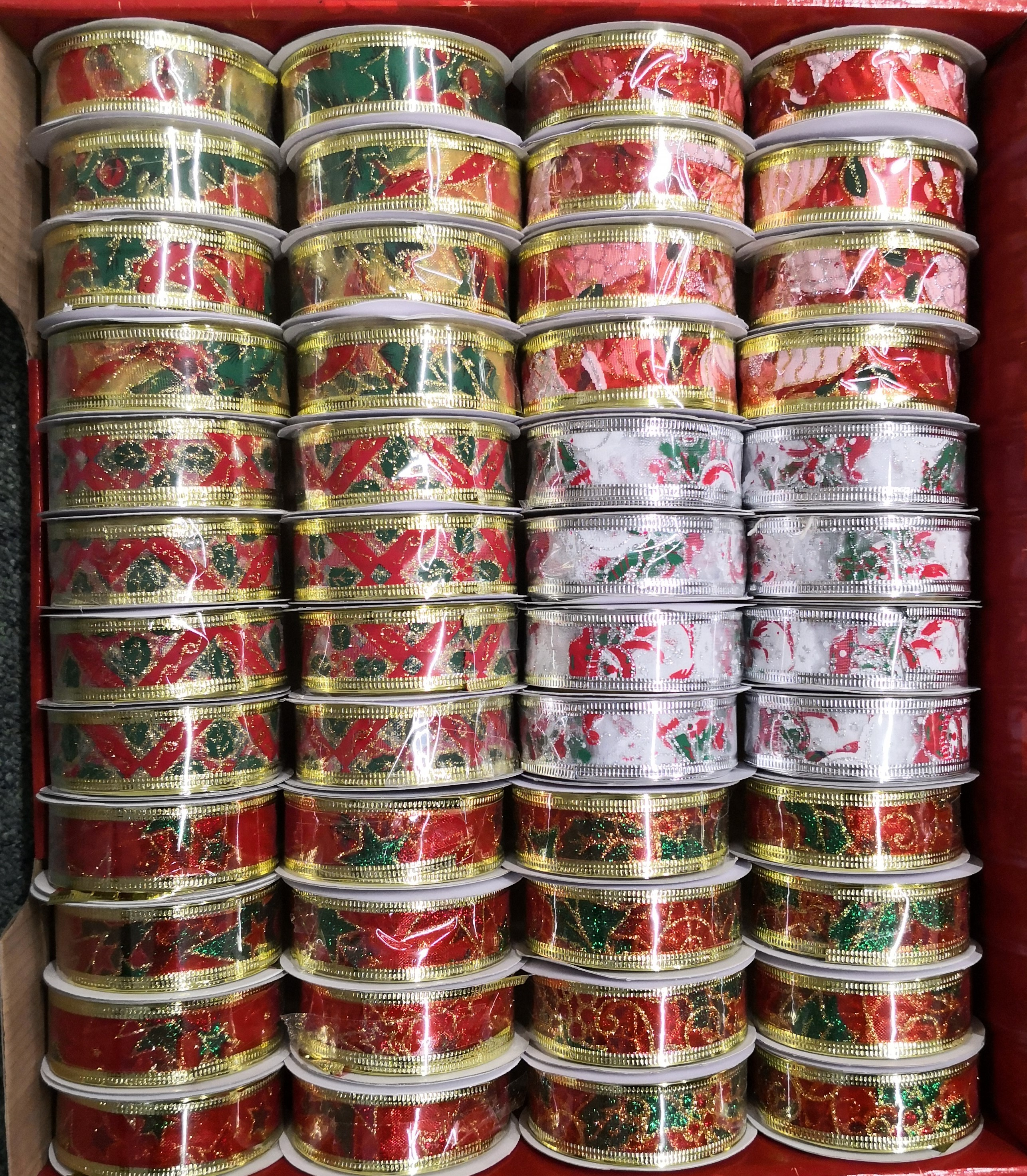 CHRISTMAS RIBBONS - WIRED, VARIETY OF PATTERNS AND SIZES - TOTAL 104 RIBBONS