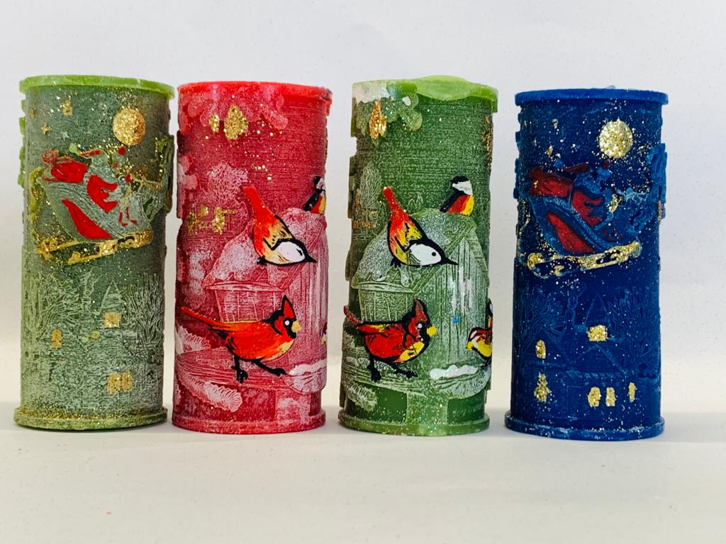 Large cylinder candles - winter scenes, santa, robins - 12 in a lot
