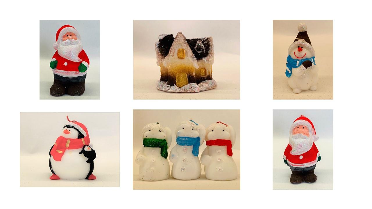 Christmas Candles - Santa, Snowman, Gingerbread House, Penguin - mixed lot of 25 items