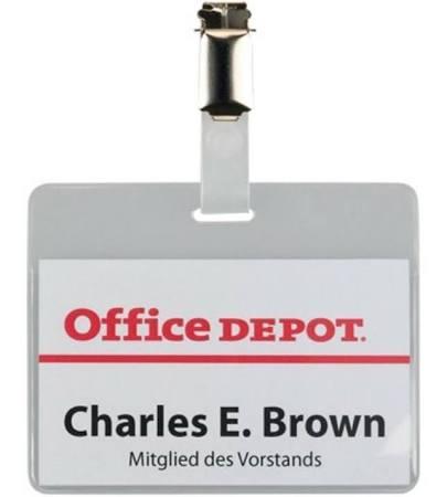 Office Depot Portrait Clip Badges 60mm x 90mm x 50 per Box - 1 Off lot of 24 boxes of 50 clips