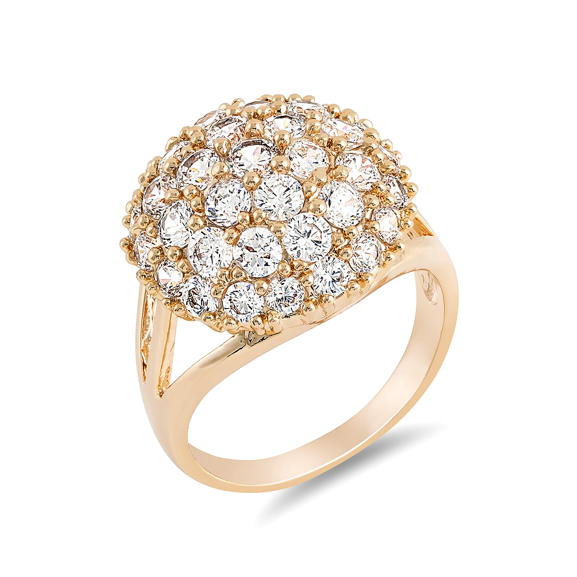20pc Rose Gold Plated Cluster Round Clear Crystal Ring Size Variations UK (4 sizes, 5pcs for each size)/GCJ041