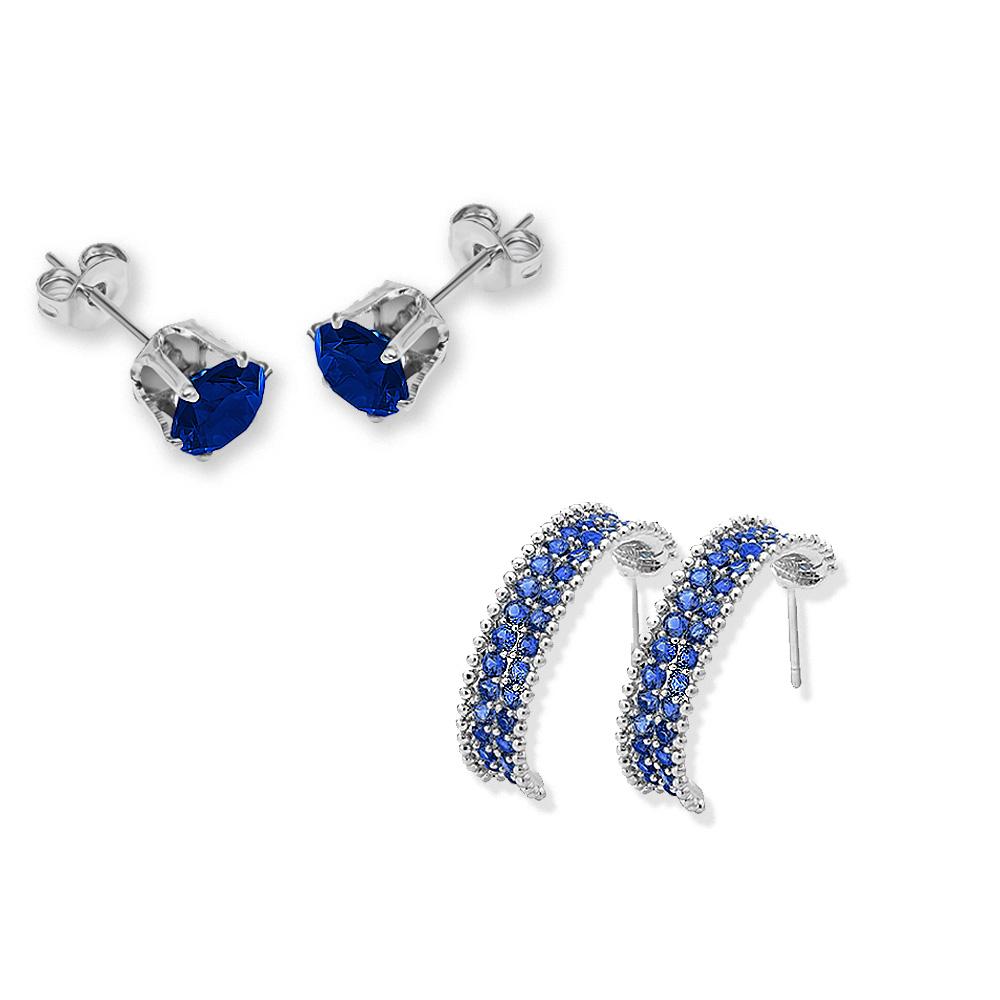 20pc  Two Designs Blue Sapphire Cubic Zirconia gemstone Earrings Set UK (10pcs per design)Free bags/GCJ017019