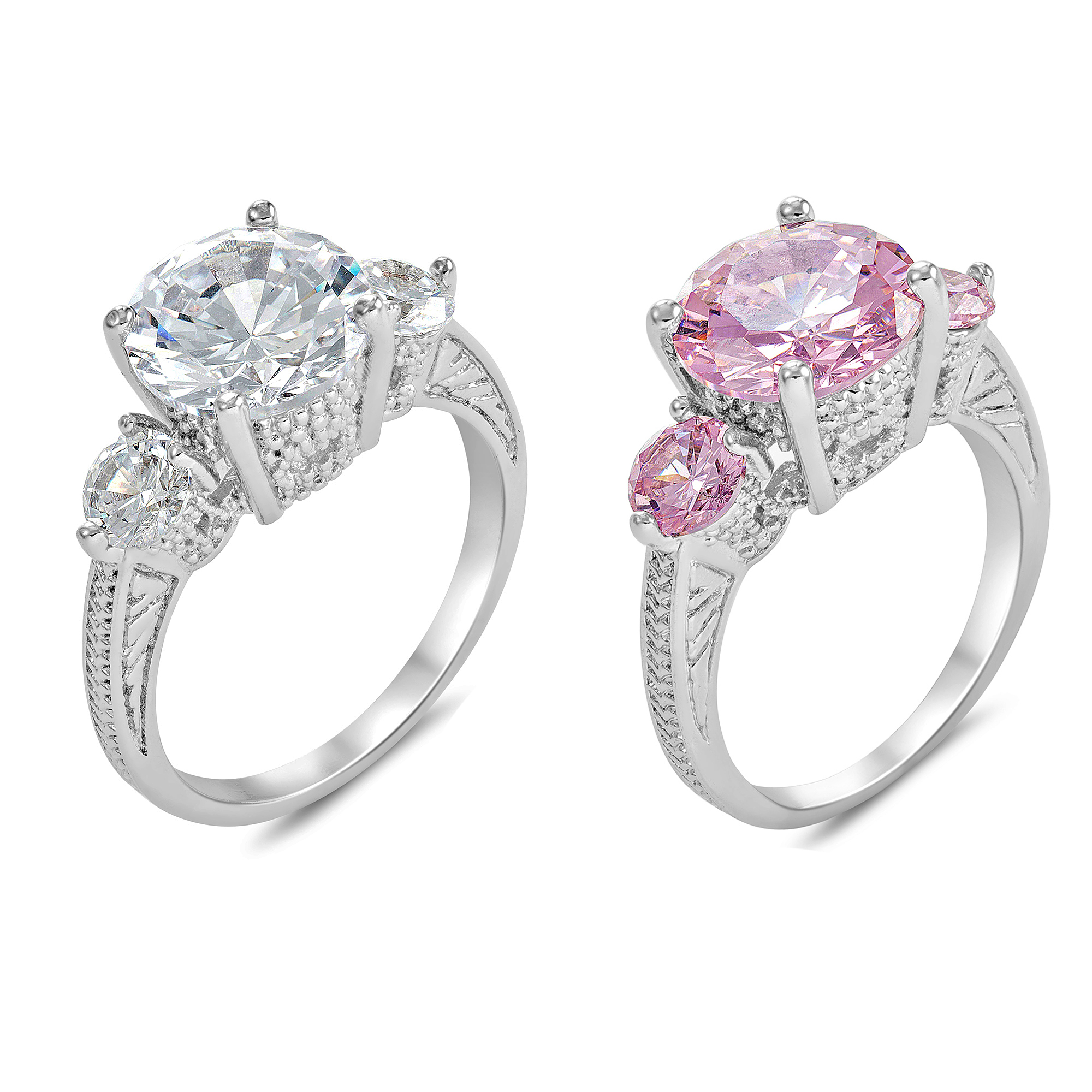 40pc Crystal Clear & Pink Cubic Zirconia Rings Size & Colour Variation (4 sizes, 5Pcs for each size, two colours)/GCJ027028)