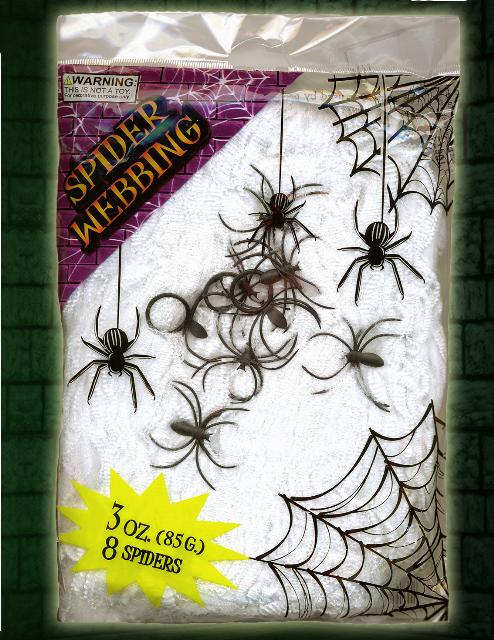 Box of 24 Halloween Decoration Pack of Spiders Web Webbing Cobweb & 8 Plastic Spiders