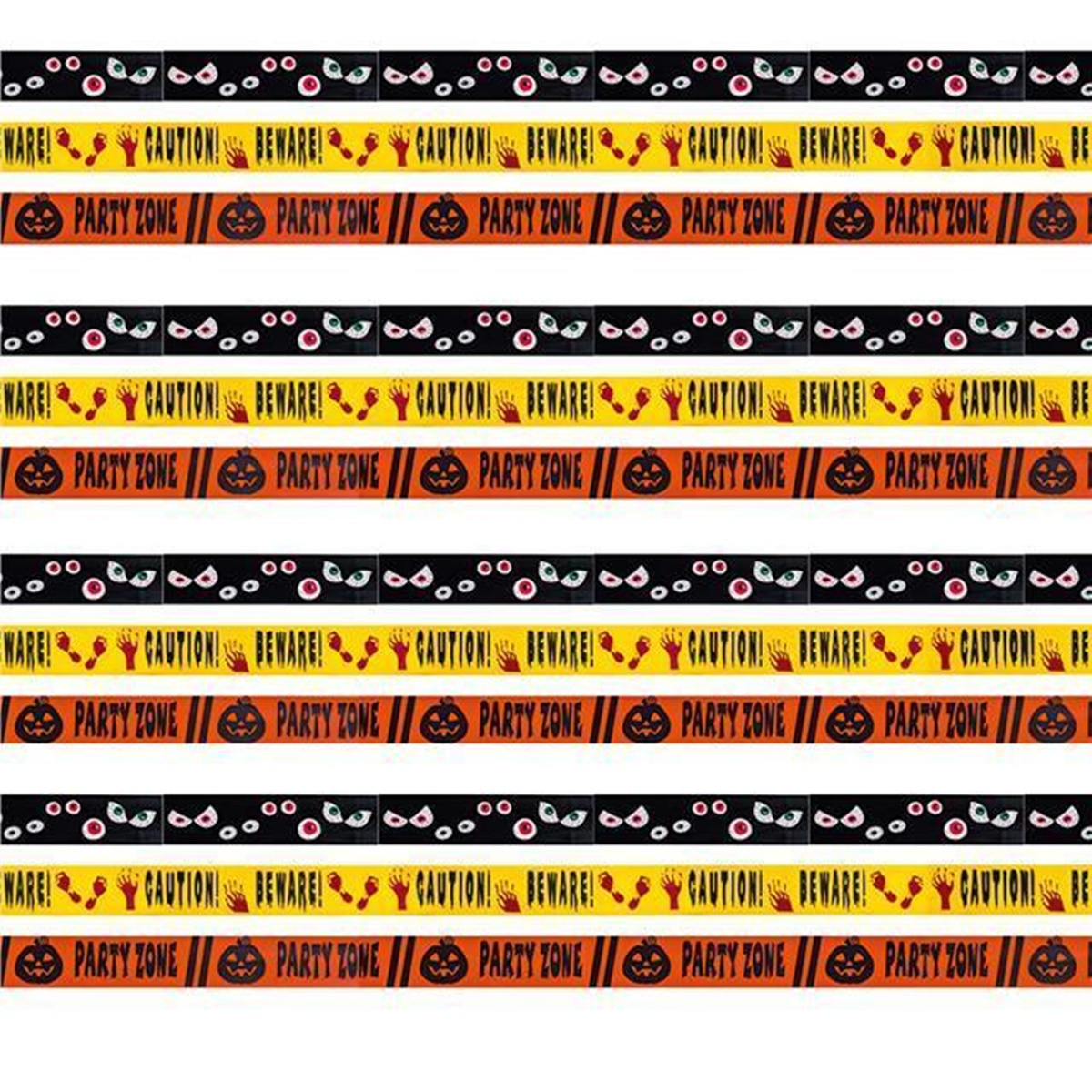 Box of 24 Halloween Decoration Fright Tape Spooky, Caution, Pumpkin Party Decoration