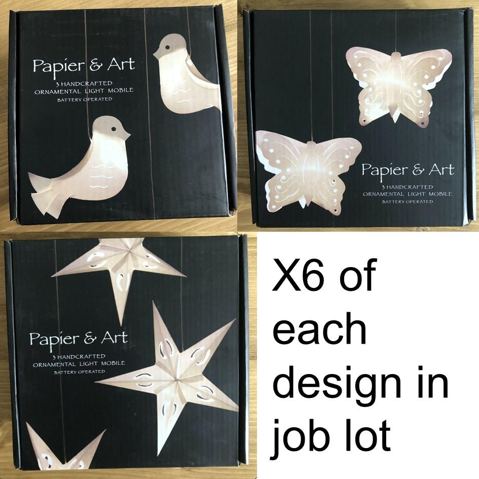 18 X Mixed Design Light Mobiles - Battery Operated - Star, Butterfly, Bird
