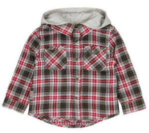 One Off Joblot of 4 Boboli Boys Shirts with Hood Red Check 4 Sizes