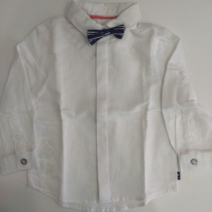 One Off Joblot of 6 Boboli Boys White Dress Shirts with Navy Striped Bow Tie