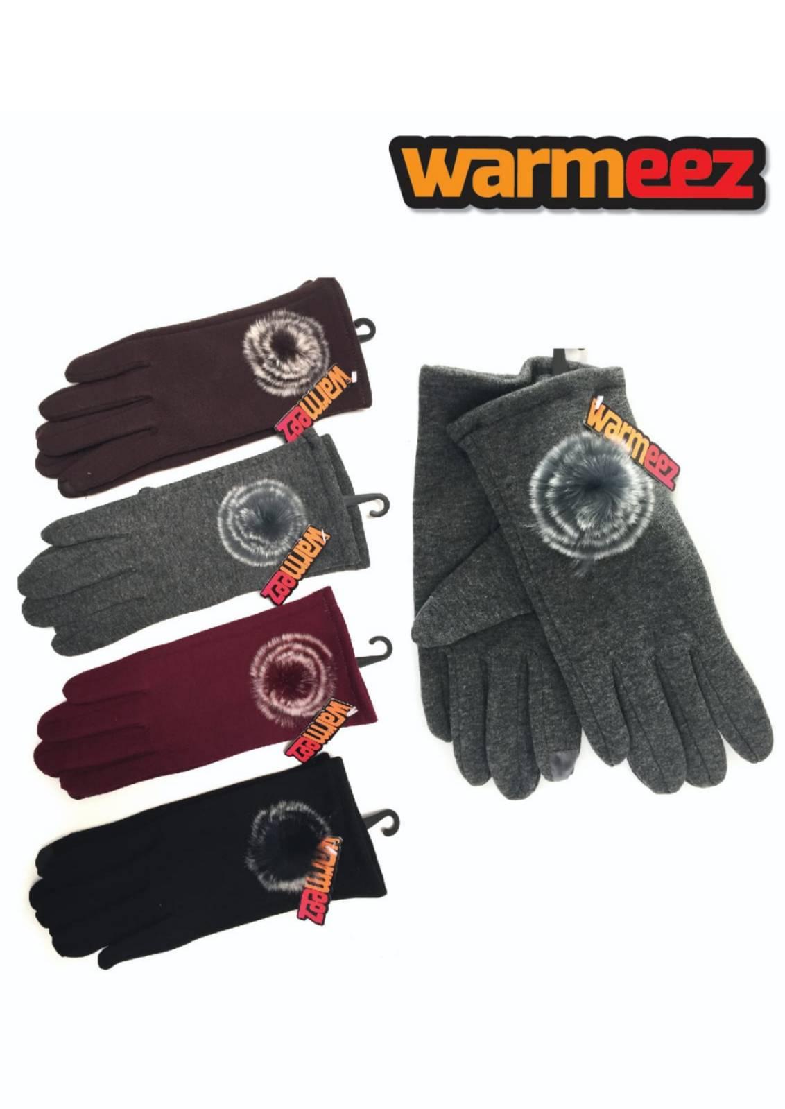 Ladies warm stylish touch screen pompom gloves x 12