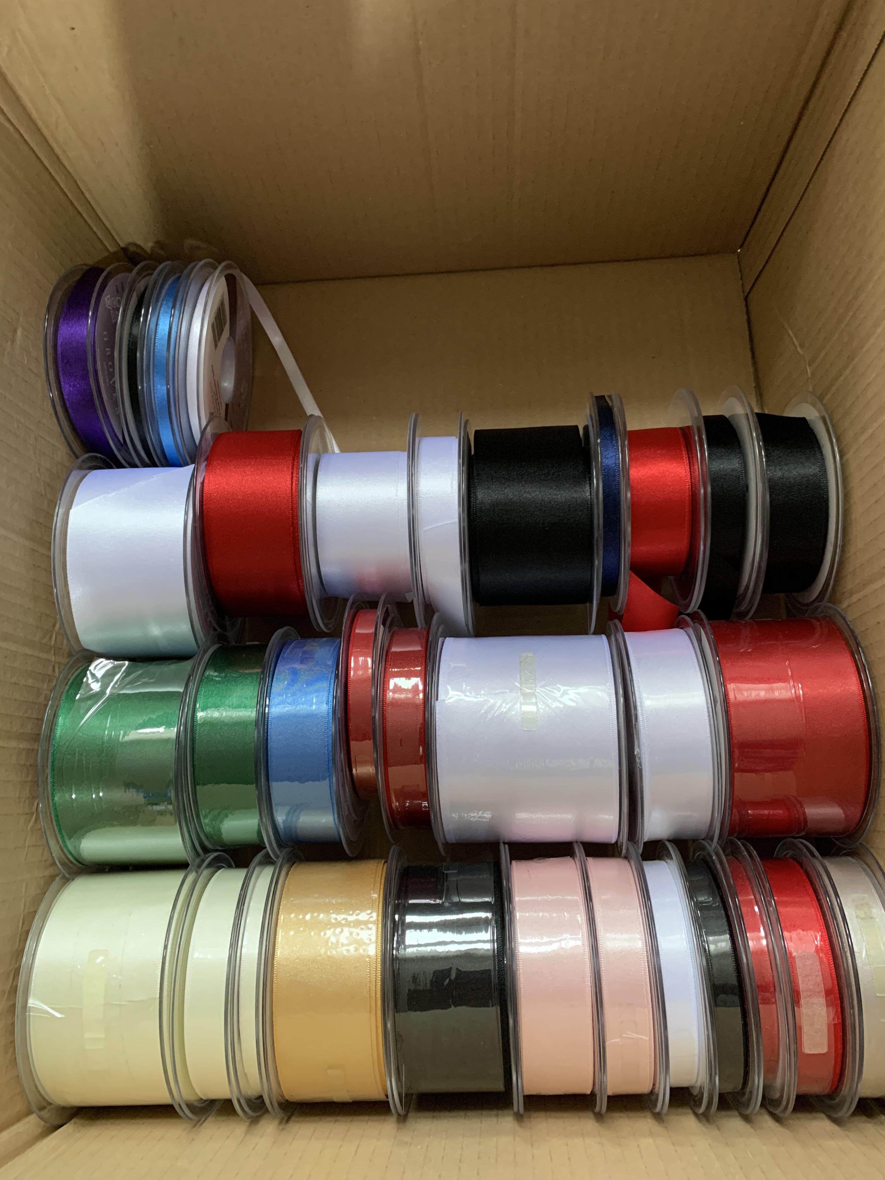 Huge Joblot of Ribbon Reels - Whole reels and part reels, ready to sell - satin, grosgrain, lame, velvet & more