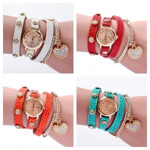Wholesale Joblot of 10 Womens Wet Look Heart Triple Wrap Watches