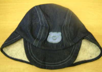 Babies Denim Teddy Bear Motif Fur Lined Hat - 60 Hats per Lot Purchased - Huge Margin Available