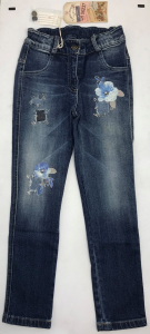 One Off Joblot of 5 Lapin House Girls Distressed Flower Jeans Sizes 4-12