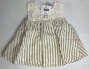 One Off Joblot of 5 Kidspace Girls Ivory Stripey Dresses Sizes 3m-12m
